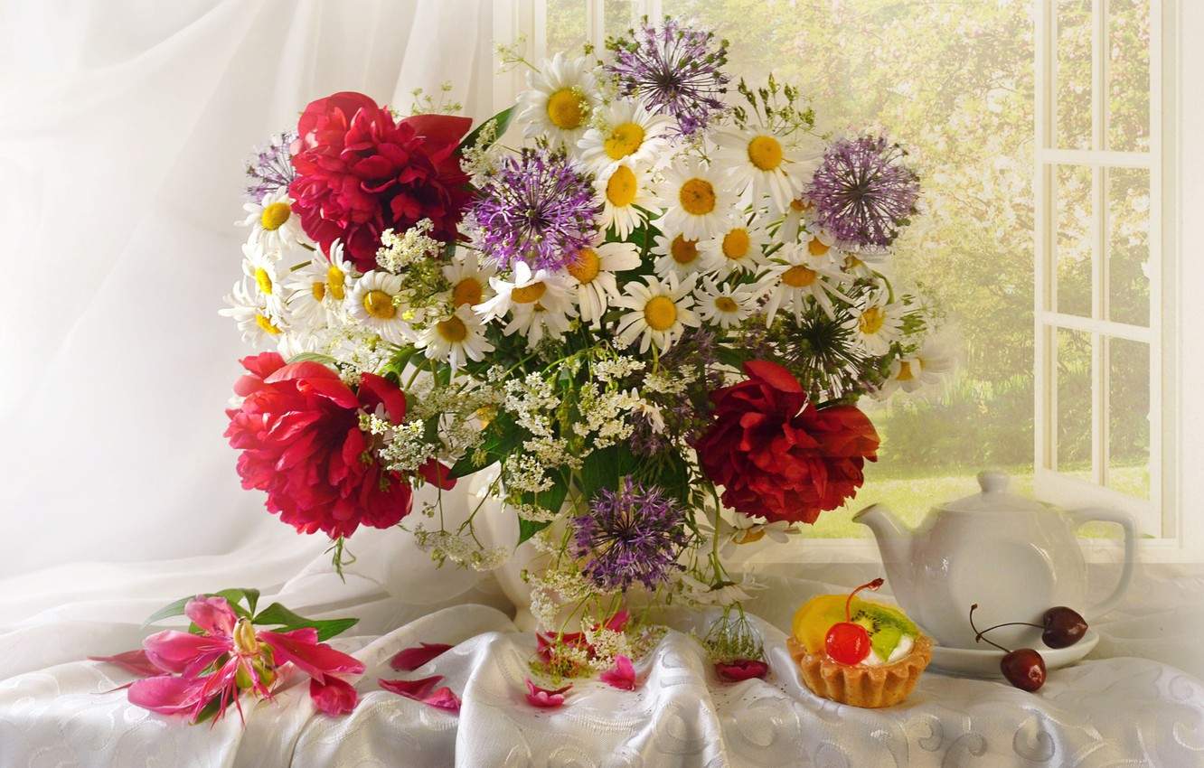 Photo wallpaper chamomile, bouquet, cake, cherry, peonies, in Durban