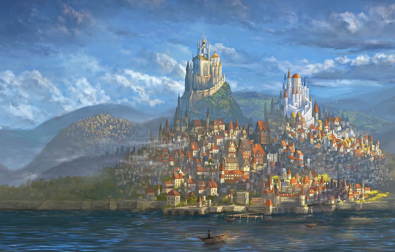 Photo wallpaper City, World, Fantasy, Art, Fantastic, Castle, Paint,
