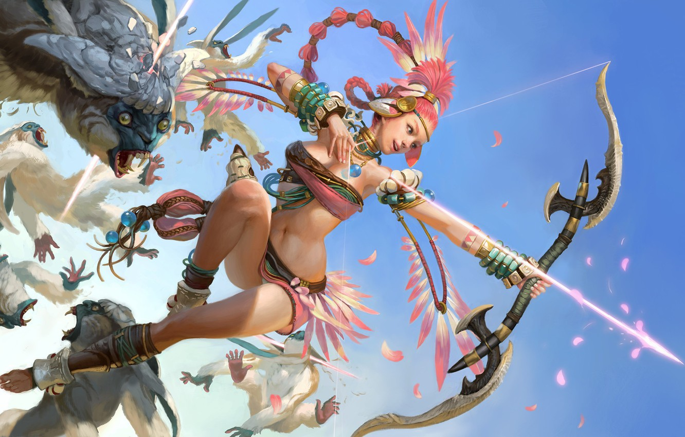 Photo wallpaper girl, weapons, creatures, Bow, arrow