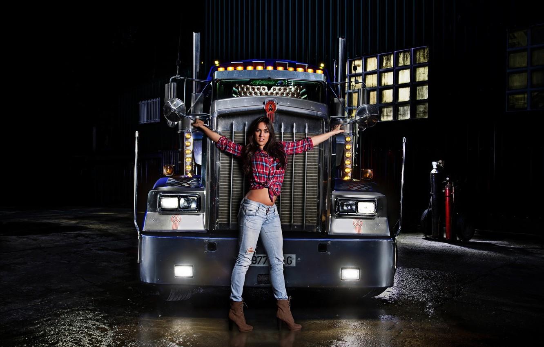 Photo wallpaper look, girl, lights, Girls, brunette, truck