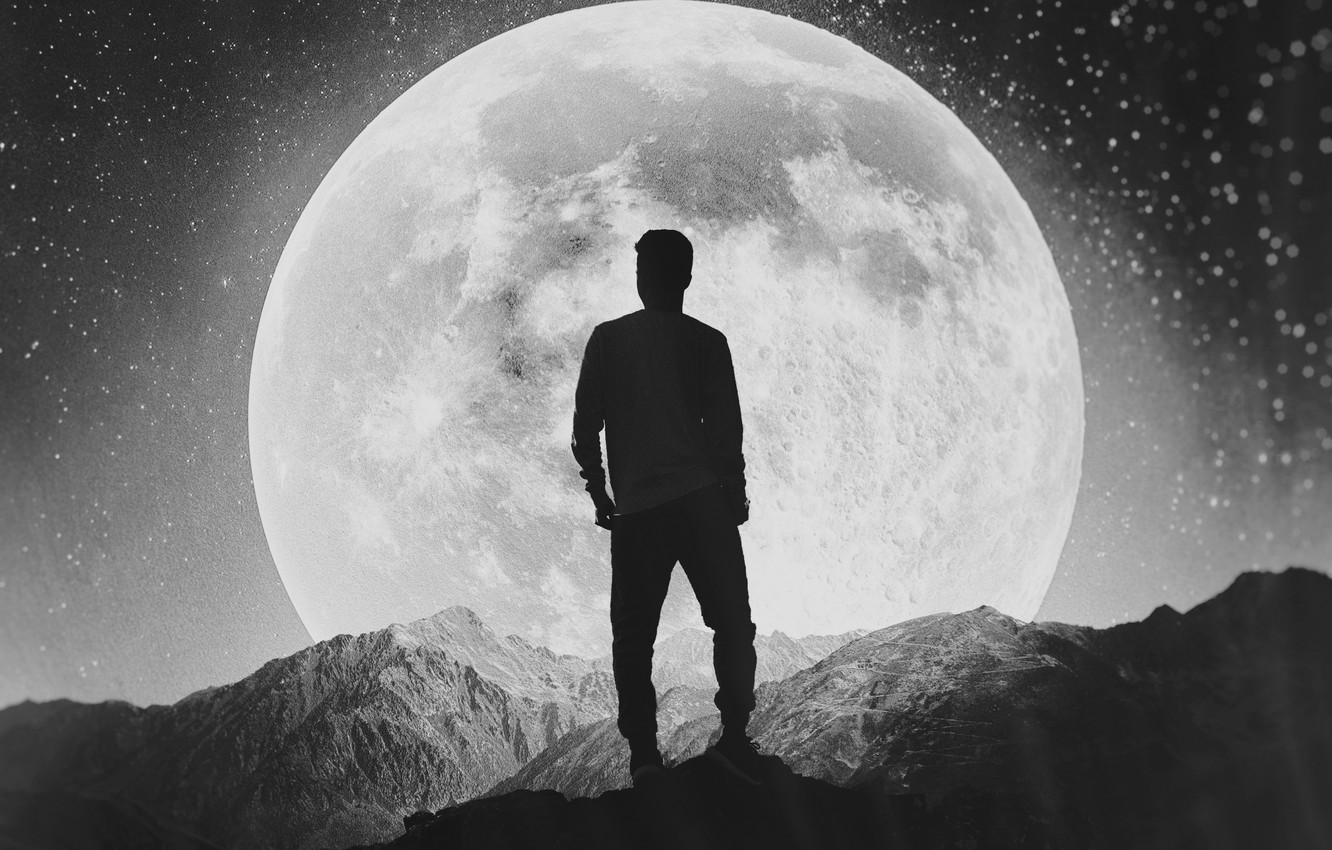 Wallpaper the moon black and white moon guy alone images