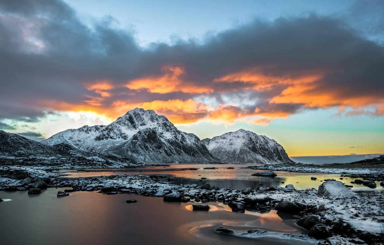 Wallpaper Sunset Mountains Coast Norway Norwegian