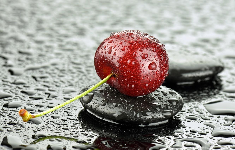 Photo wallpaper drops, macro, cherry, stone, berry