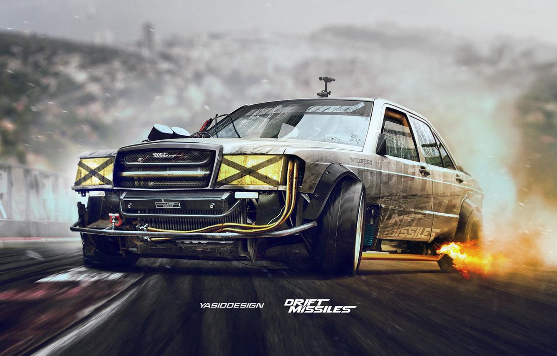 Photo wallpaper Mercedes-Benz, Machine, Movement, Mercedes, Lights, Car, Art, Mercedes Benz, The front, 190, W201, Yasid Design, …