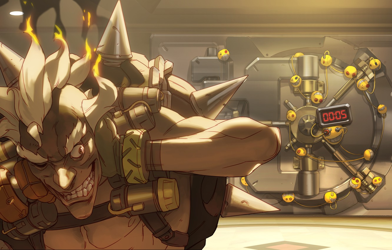 Photo wallpaper safety Deposit box, robbery, Overwatch, Junkrat