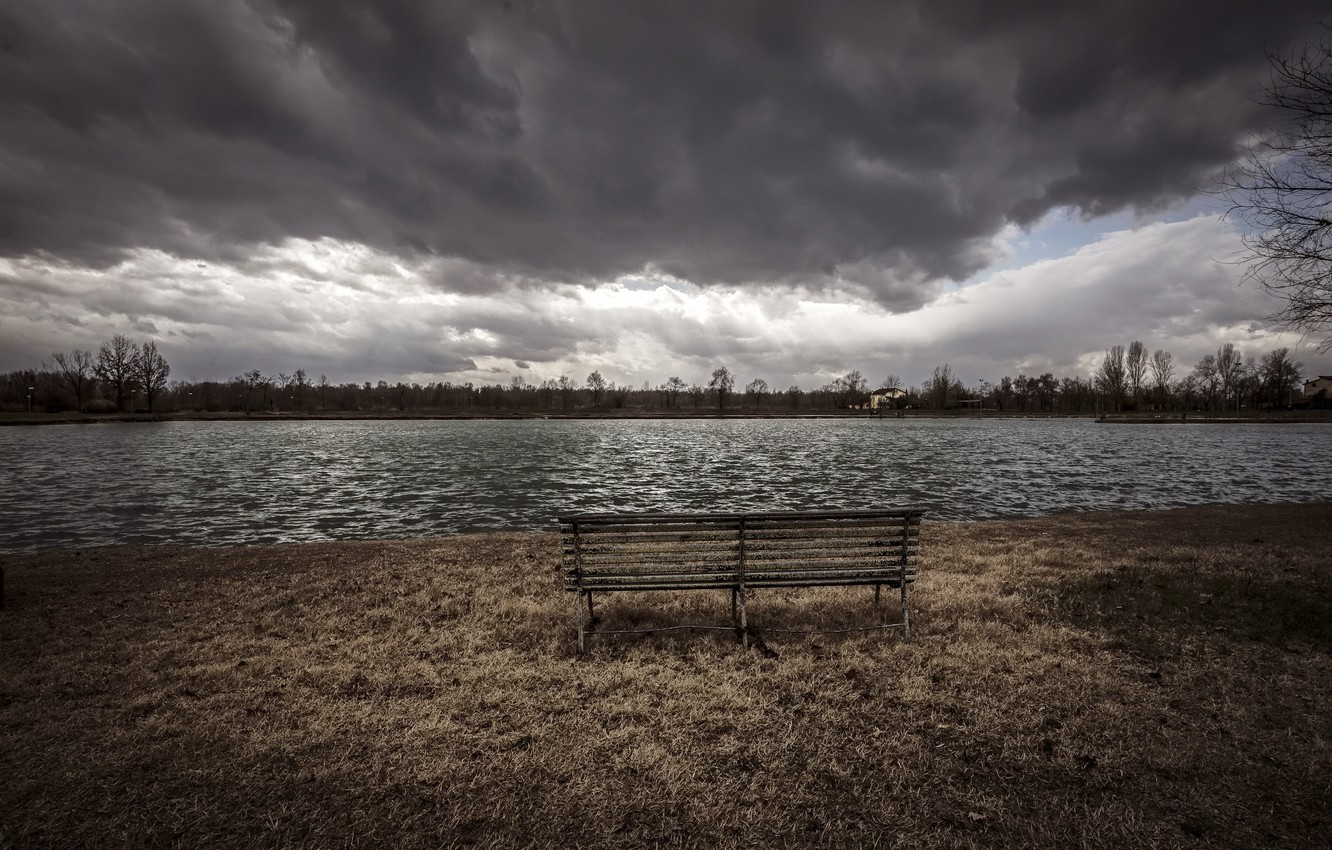 Photo wallpaper clouds, river, bench