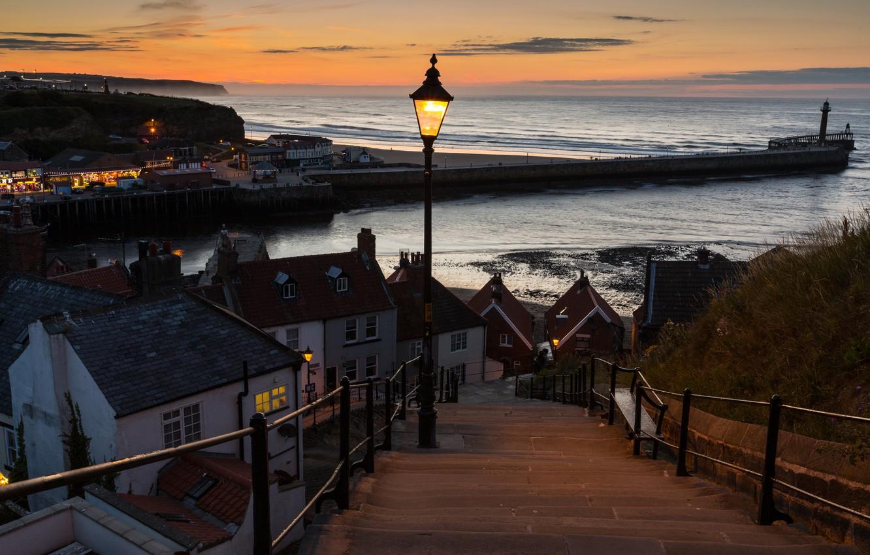 Photo wallpaper sea, the sky, landscape, sunset, lights, coast, lighthouse, England, home, the evening, horizon, lights, pierce, …
