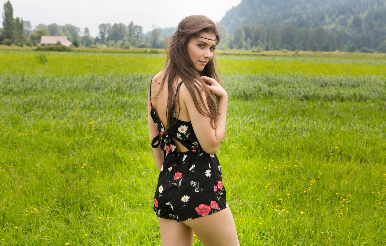 Photo wallpaper greens, field, summer, grass, look, girl, trees, landscape, pose, makeup, dress, hairstyle, house, brown hair, …
