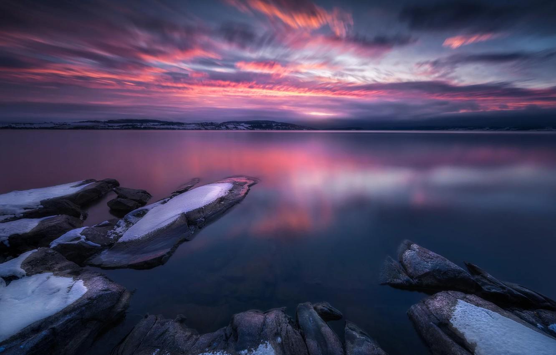 Photo wallpaper Landscape, Snow, Sunrise, Norway, Lake, Tyrifjorden