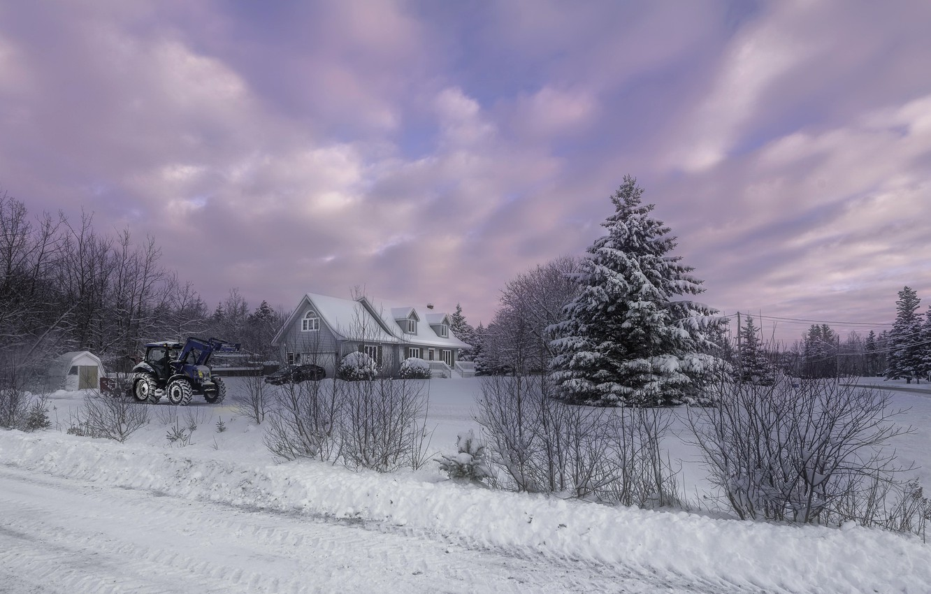 Photo wallpaper winter, house, tractor