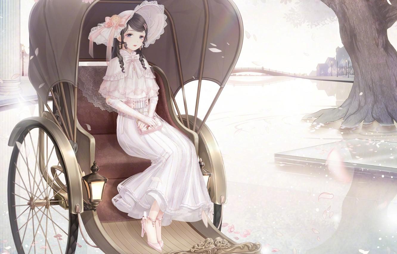 Photo wallpaper girl, bridge, the city, stroller, hat