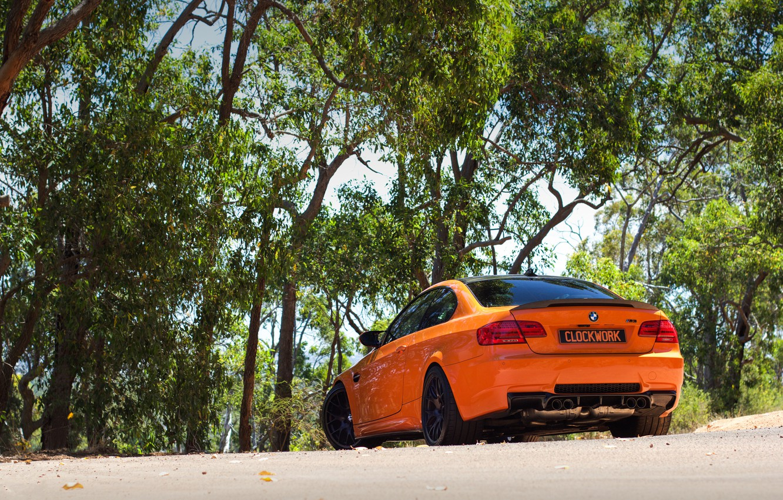 Photo wallpaper orange, BMW, BMW, rear view, orange, e92