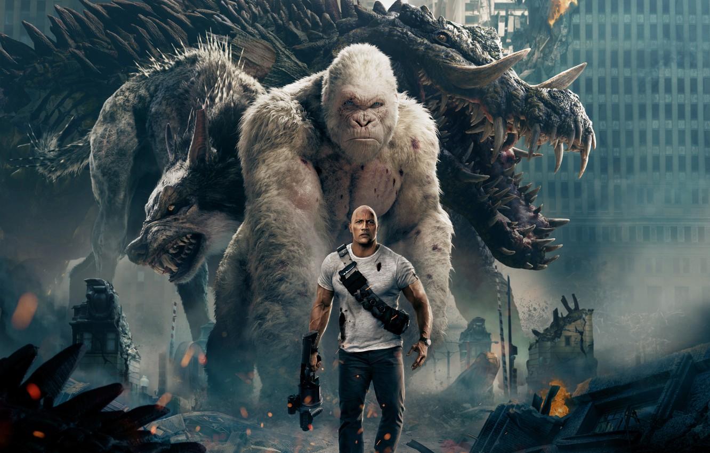 Photo wallpaper City, Action, Fantasy, Fire, Flame, White, Wolf, 2018, Dwayne Johnson, EXCLUSIVE, Movie, Kate, Film, Crocodile, …