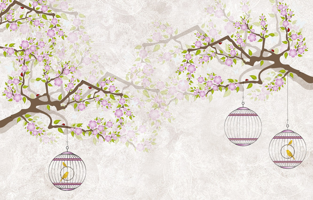 Photo wallpaper TREE, BUTTERFLY, FIGURE, BIRDS, CELL, PAINTING
