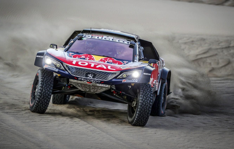 Photo wallpaper Sand, Auto, Sport, Machine, Speed, Race, Peugeot, Lights, Red Bull, Rally, Dakar, Dakar, SUV, Rally, …