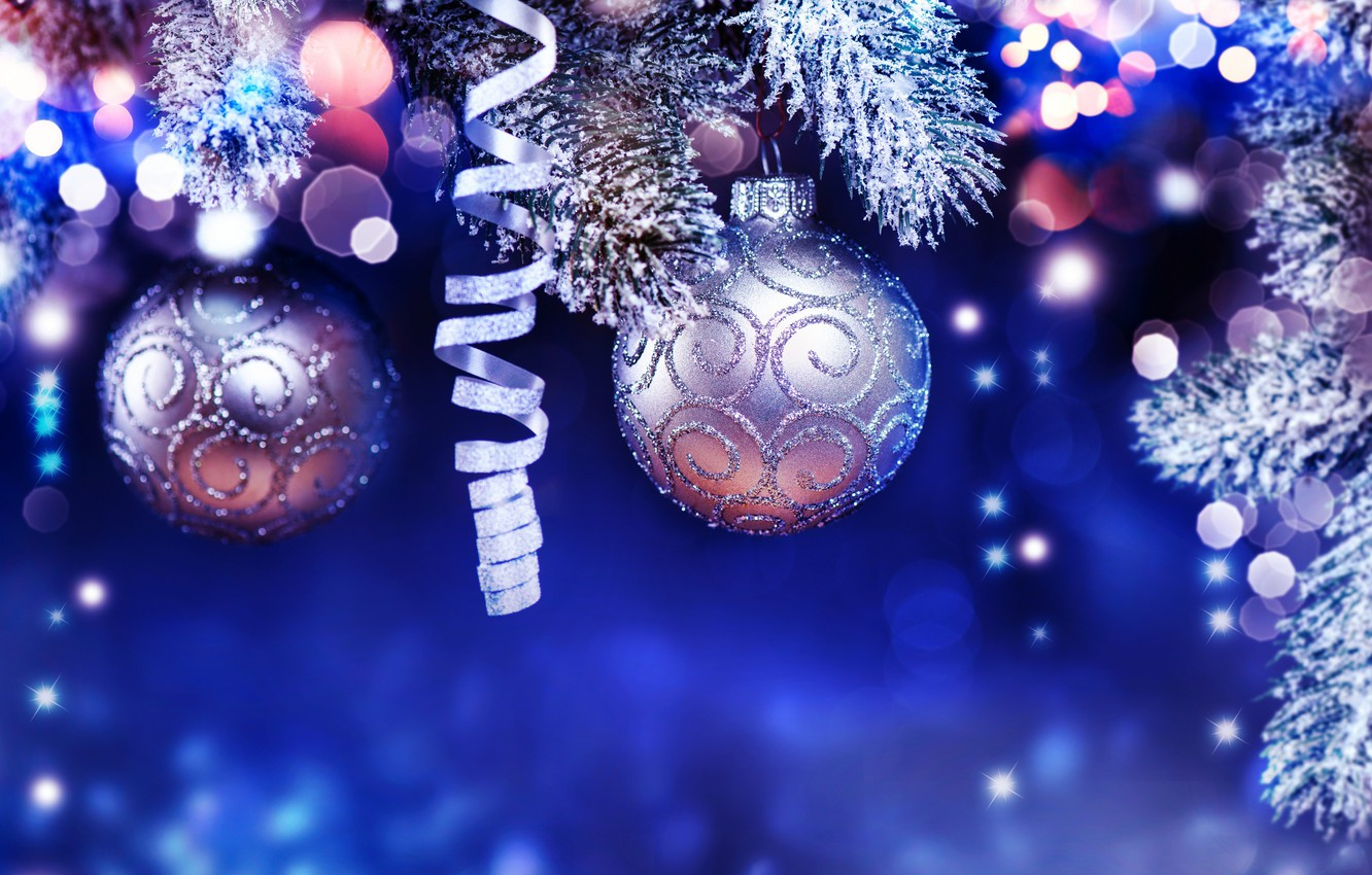 Photo wallpaper holiday, balls, toys, new year, Christmas decoration, fir-tree branches