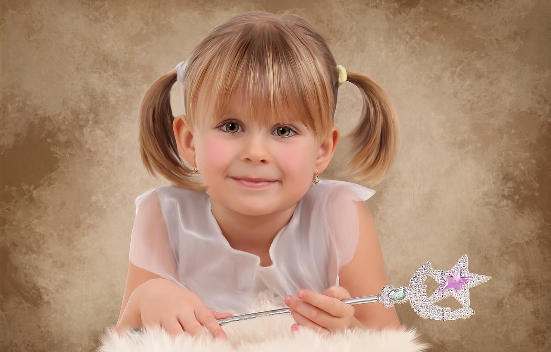 Photo wallpaper look, smile, girl, magic wand