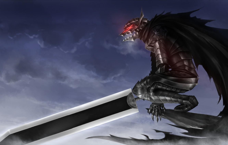 Photo wallpaper sword, blood, game, armor, sky, anime, night, power, man, fight, ken, wolf, blade, Berserk, fang, …