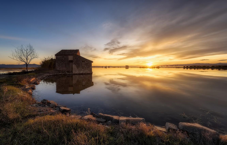 Photo wallpaper sunset, lake, house