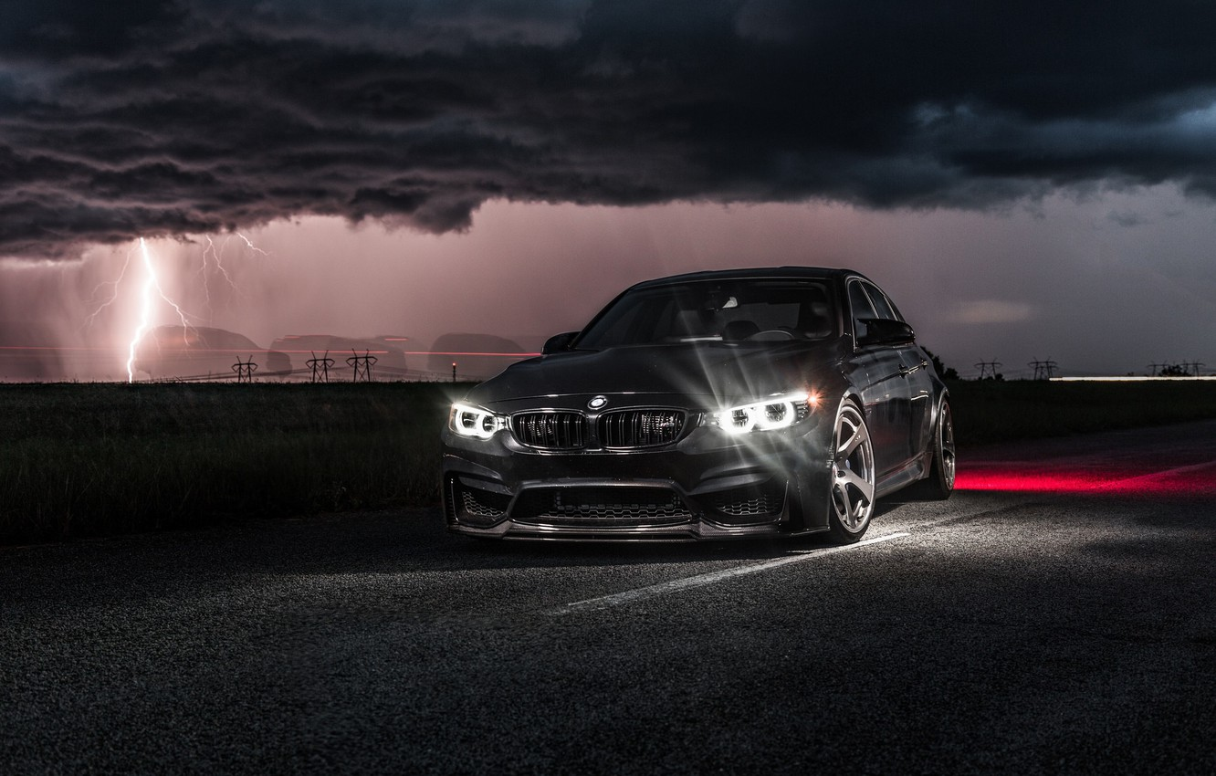 Photo wallpaper BMW, Light, Clouds, Black, Night, F80, Lighting, LED