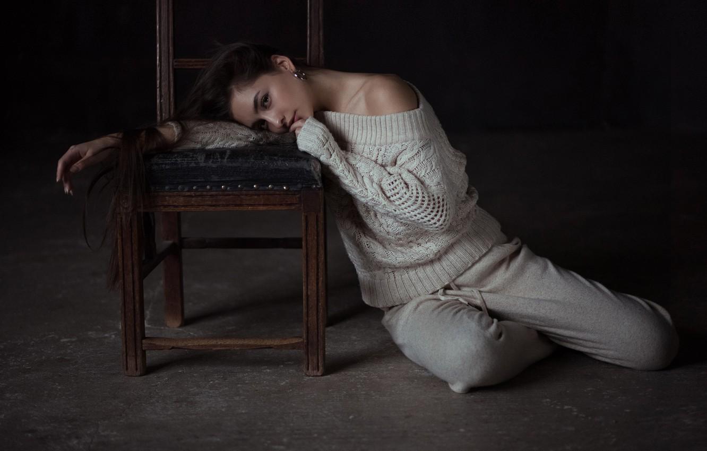 Photo wallpaper pose, mood, chair, long hair, on the floor, sweater, Andrey Firsov, Darina Dashkina