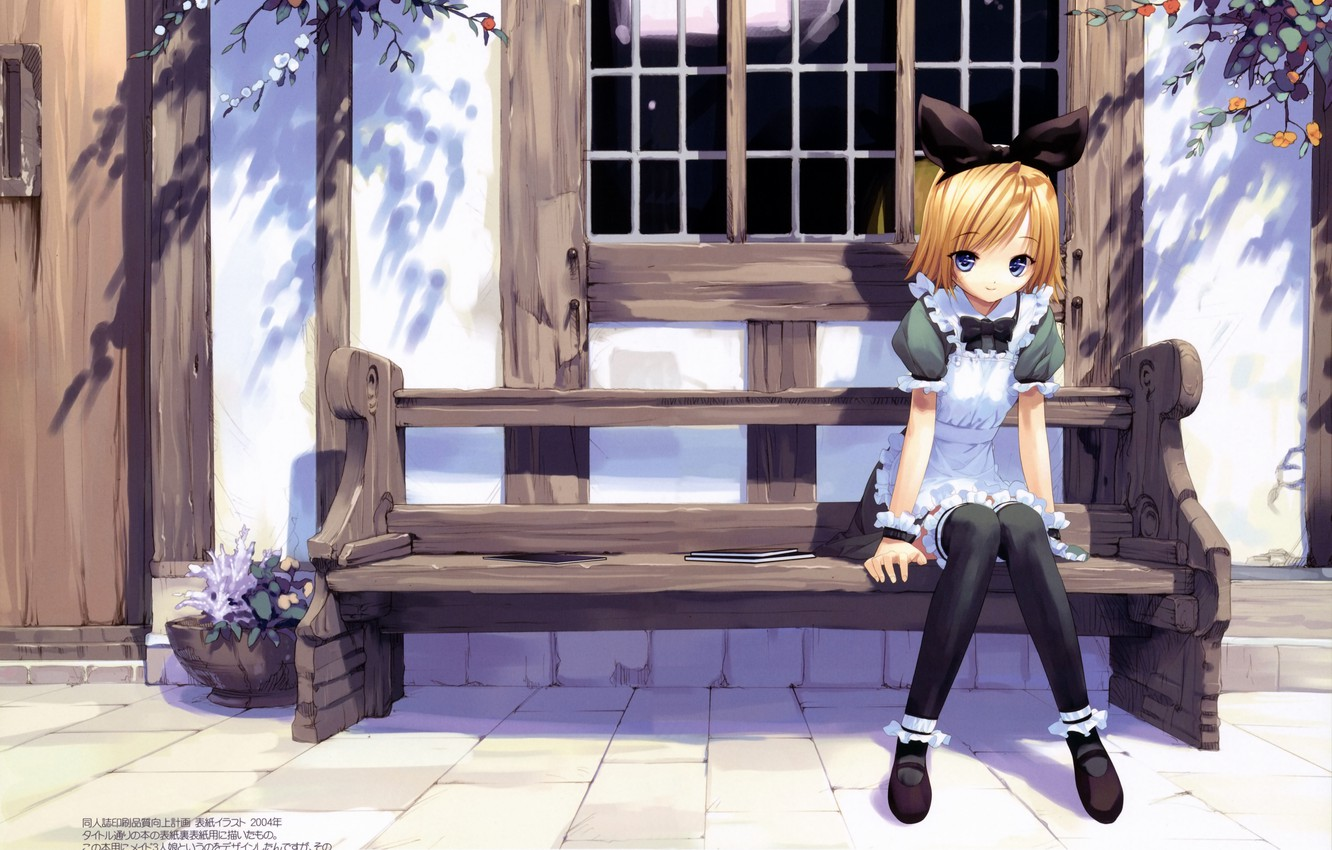 Photo wallpaper street, window, girl, bow, the maid, art, ueda ryou, on the bench, the house