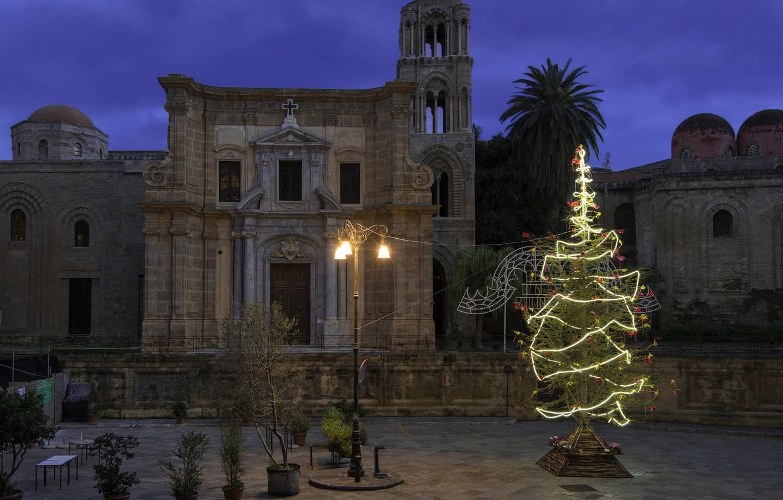 Photo wallpaper lights, holiday, tree, New Year, Christmas, Italy, Palermo, Martorana