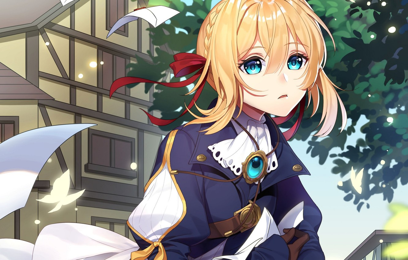 Photo wallpaper girl, letters, confusion, Violet Evergarden
