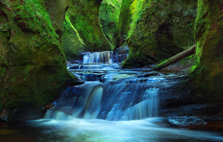Photo wallpaper river, rocks, waterfall, moss, Scotland, gorge, cascade, Scotland, Finnich Glen, Stirlingshire