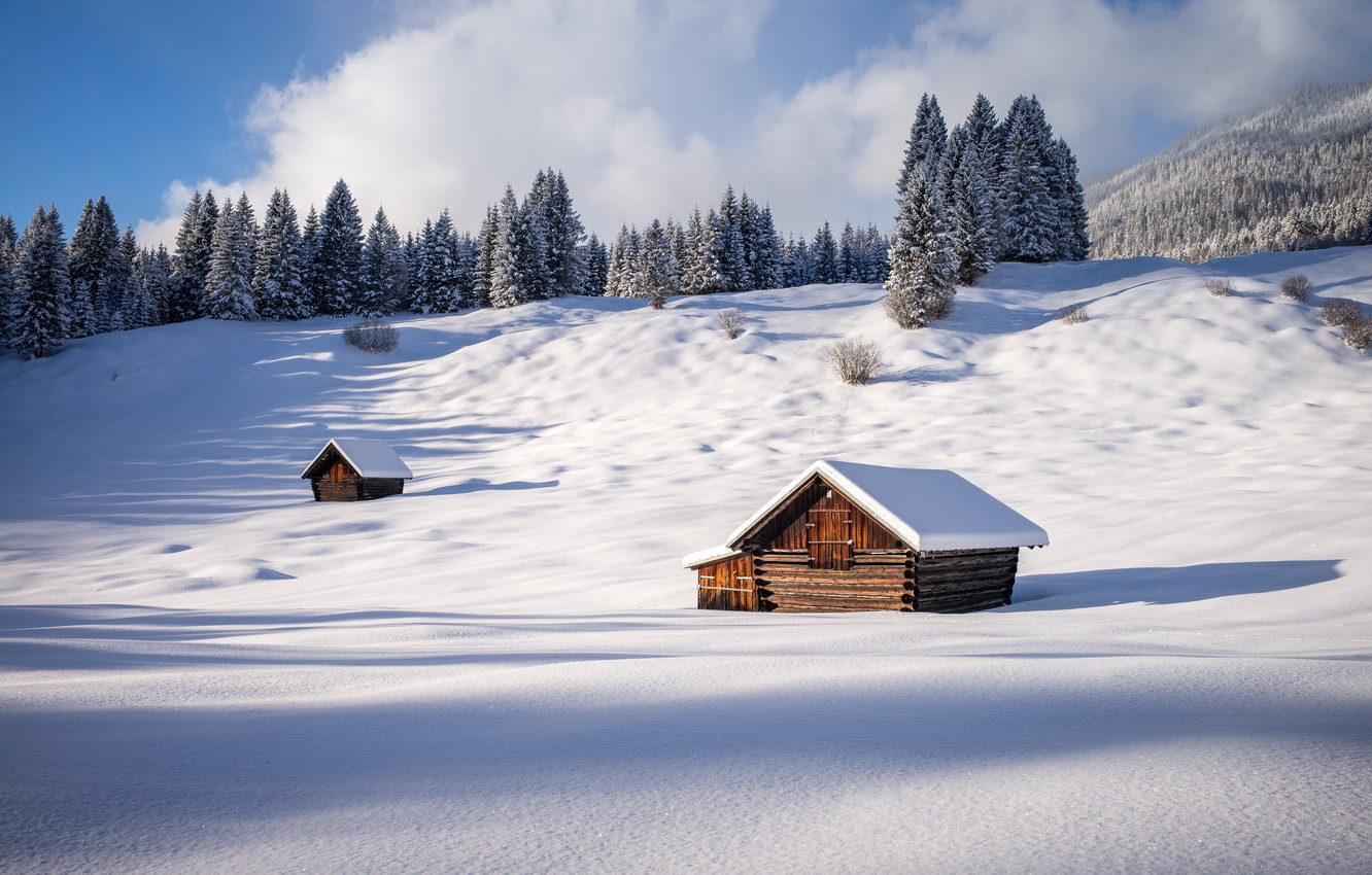 Photo wallpaper winter, forest, snow, Germany, Germany, Bavaria, sheds, Gerold