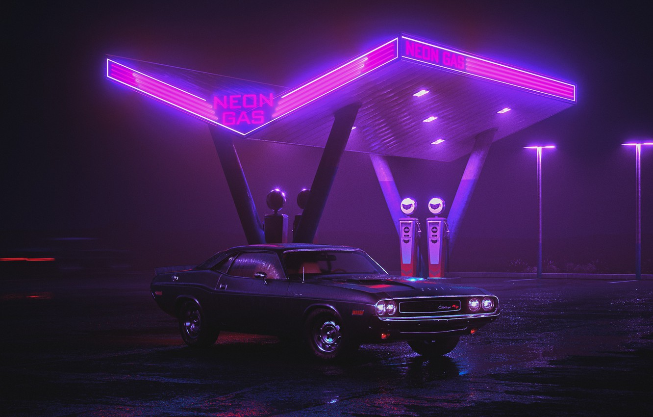 Photo wallpaper Auto, Night, Neon, Retro, Machine, Background, Dodge, Dressing, Charger, 1970, Neon, Dodge Charger, Dodge Charger …