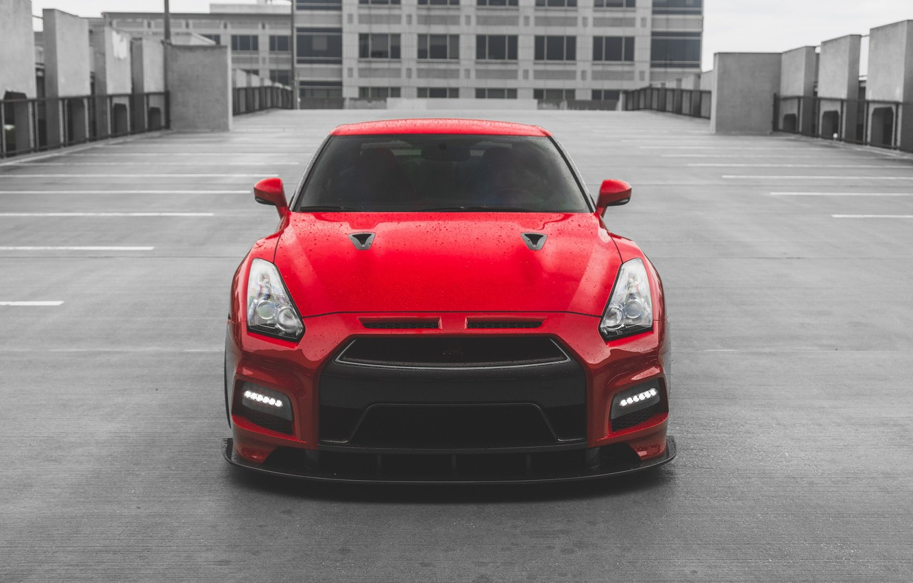 Photo wallpaper GTR, Nissan, Front, R35, RED, Face, Sight