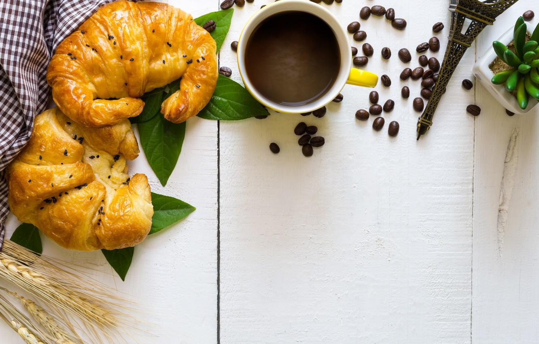 Photo wallpaper coffee, grain, Breakfast, Cup, cup, beans, coffee, croissants, growing, breakfast