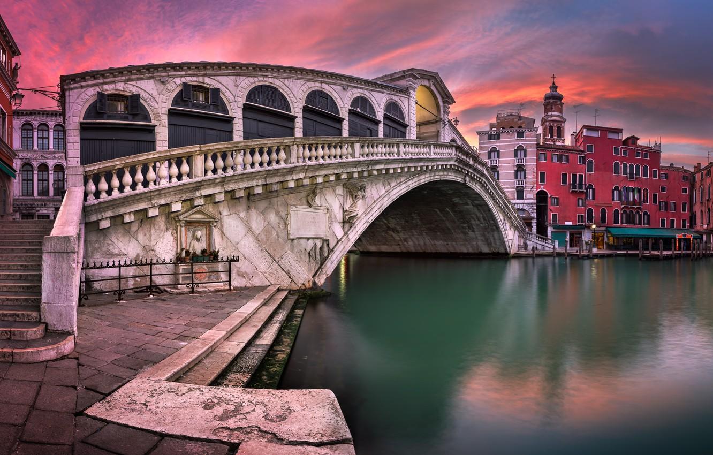 Photo wallpaper Italy, Venice, channel, Italy, sunset, Venice, Panorama, channel, Grand Canal, Rialto Bridge, San Bartolomeo Church