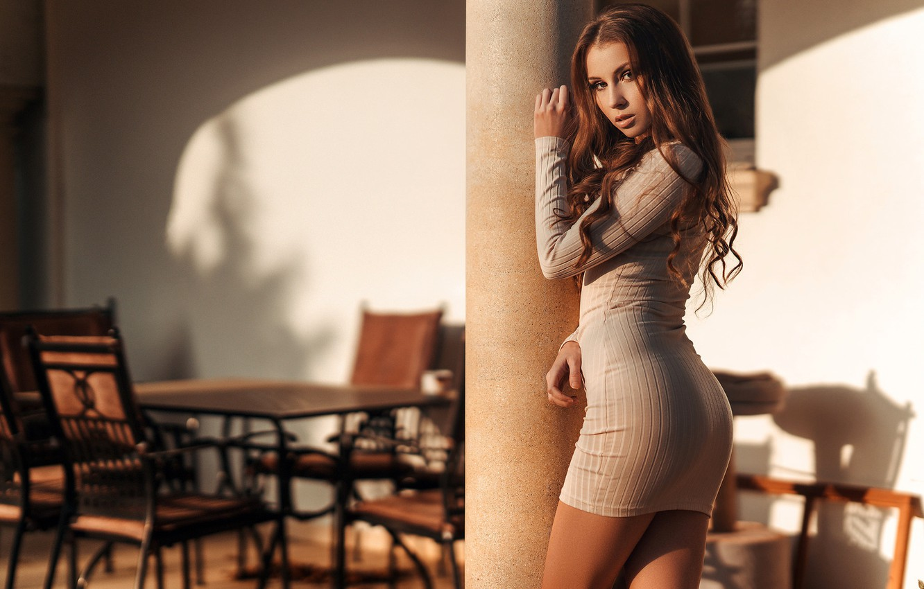 Photo wallpaper look, the sun, sexy, pose, table, model, chairs, makeup, figure, dress, hairstyle, brown hair, beauty, …
