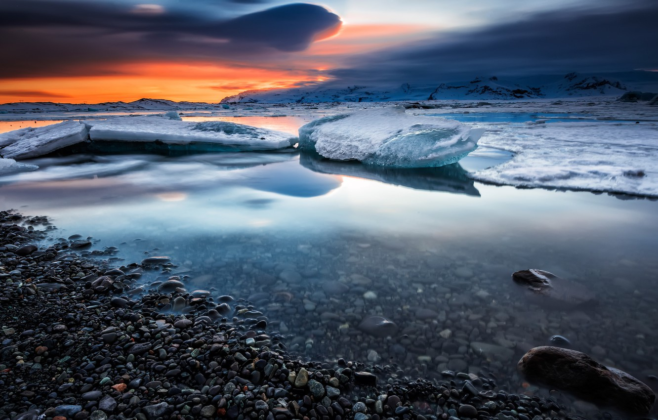Photo wallpaper ice, winter, the sky, clouds, snow, landscape, sunset, mountains, clouds, nature, pebbles, reflection, blue, stones, …