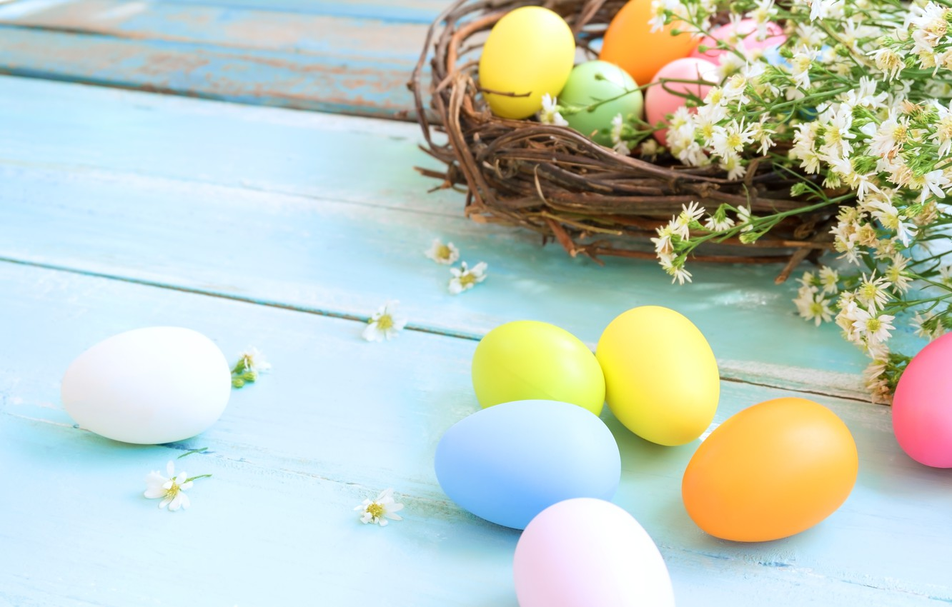 Photo wallpaper flowers, basket, eggs, spring, colorful, Easter, wood, flowers, spring, Easter, eggs, decoration, Happy, tender