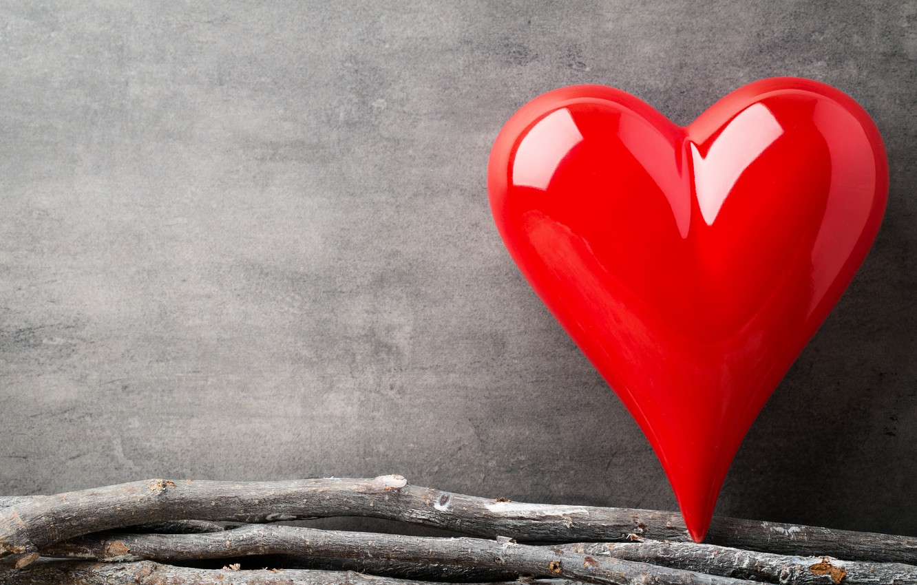 Photo wallpaper love, branches, heart, red, love, heart, wood, romantic