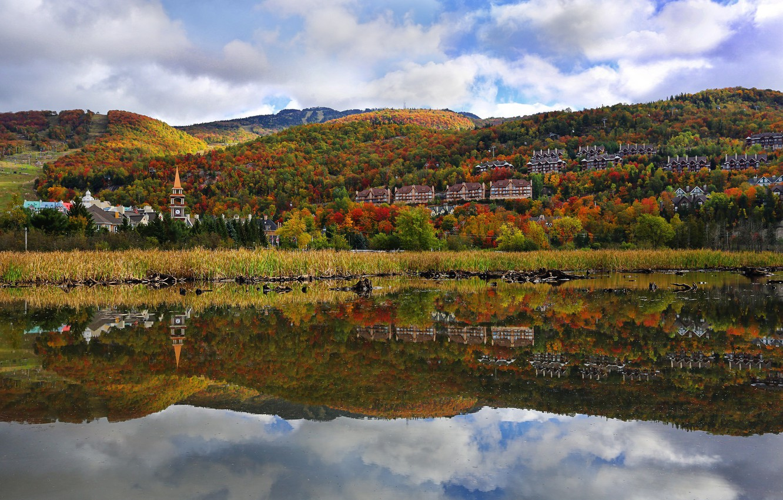 Photo wallpaper autumn, trees, mountains, the city, river
