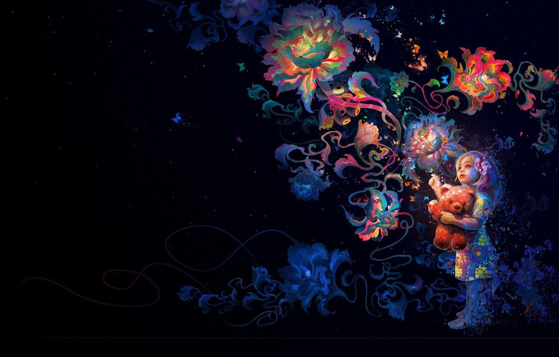 Photo wallpaper flowers, mood, art, Mira, Wei Wang, children's. dream