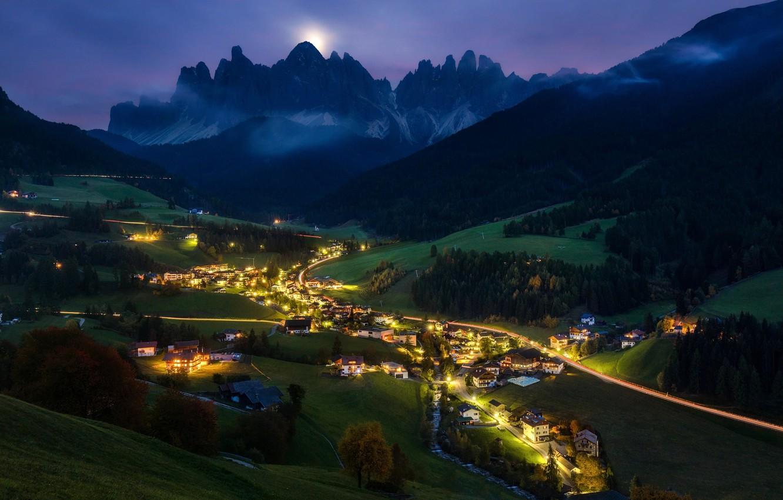Photo wallpaper light, mountains, night, valley, Alps, the village