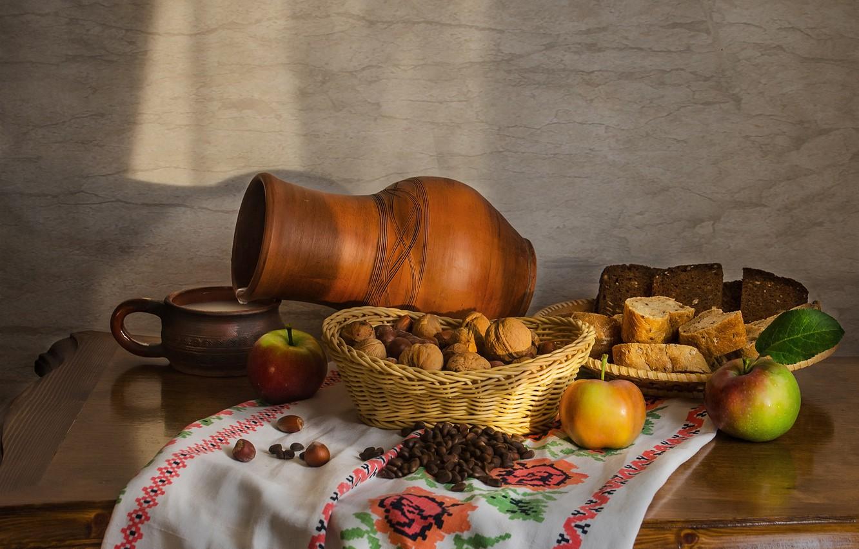 Photo wallpaper apples, milk, nuts, bread. pitcher