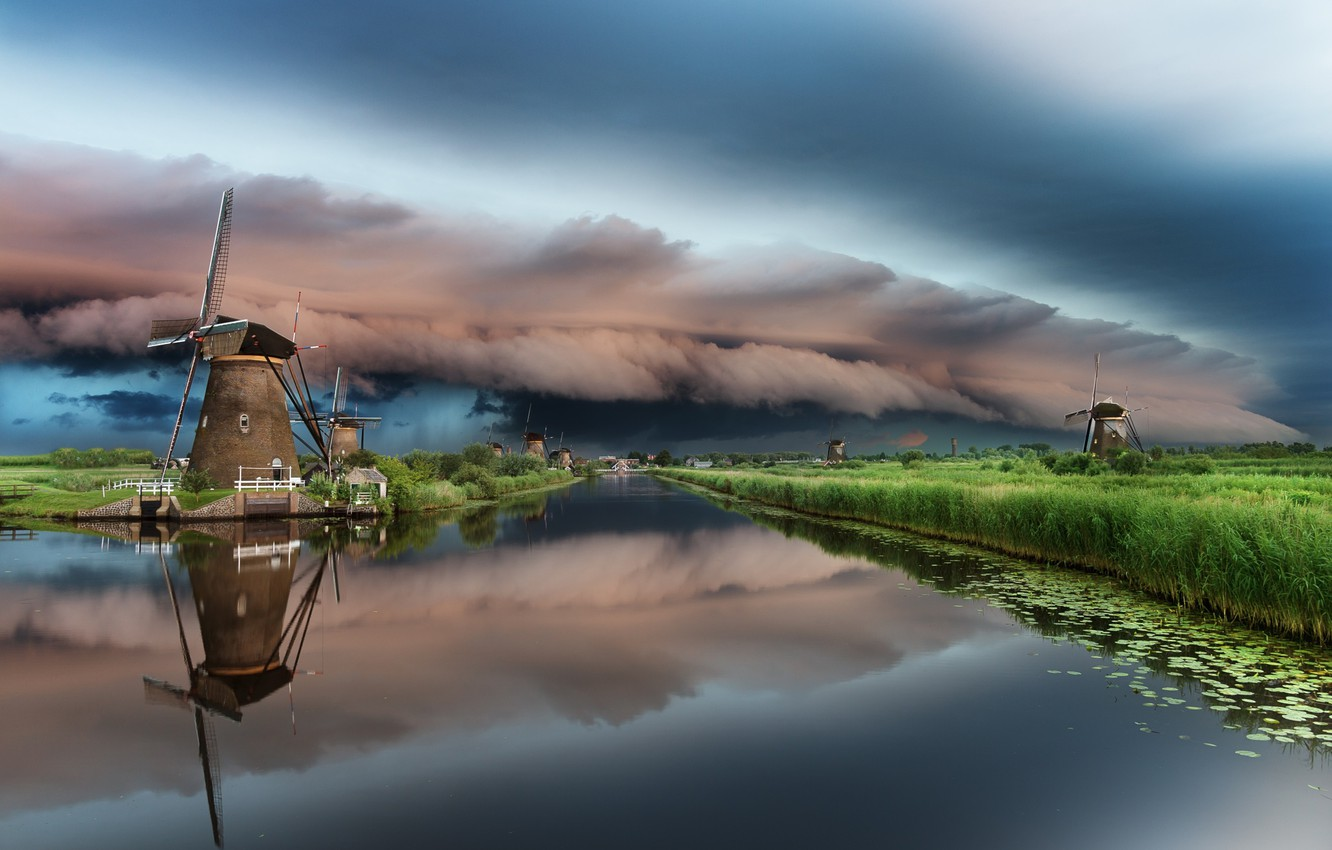 Photo wallpaper the sky, clouds, clouds, river, cloud, channel, mill, Netherlands