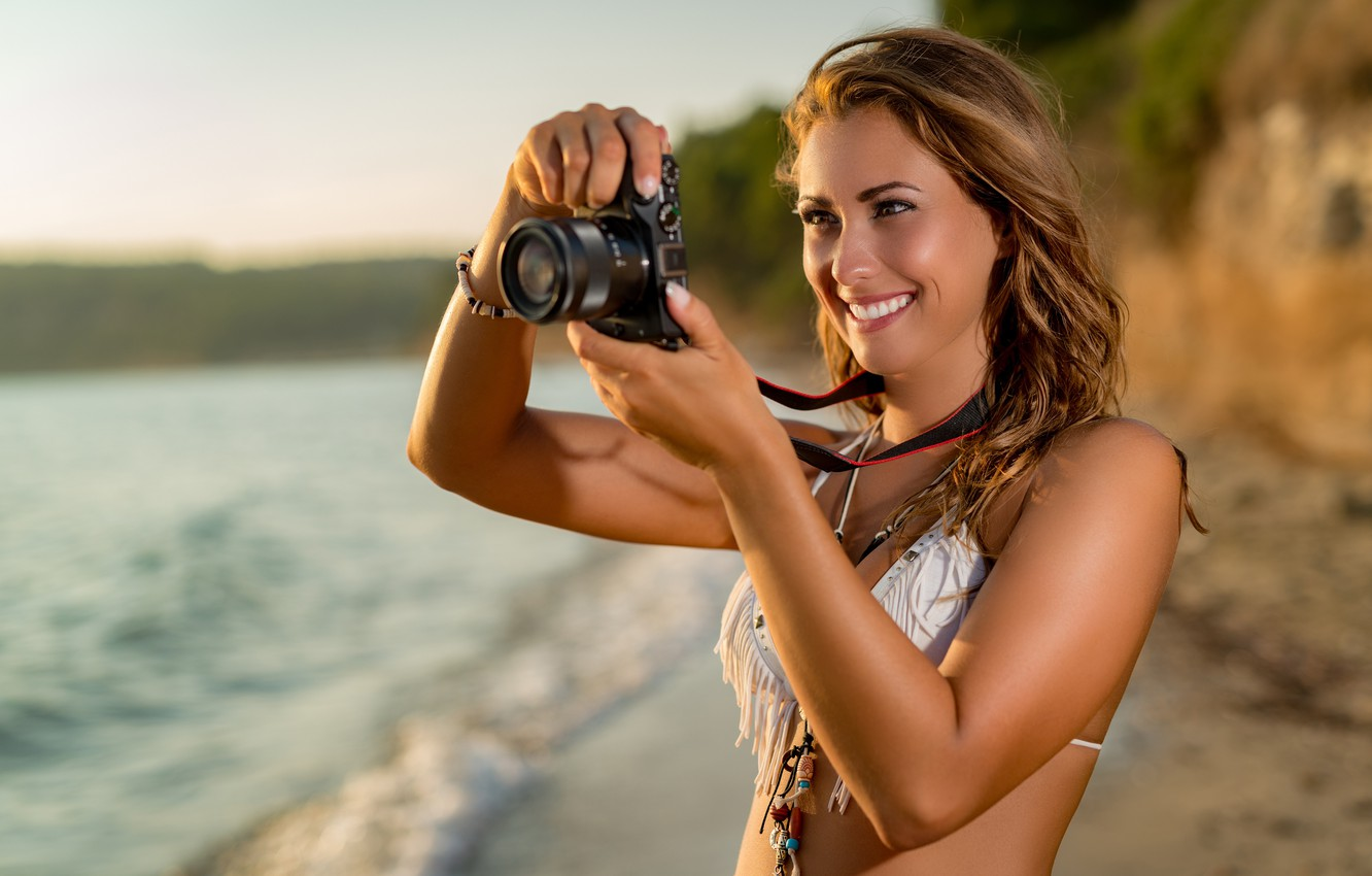 Photo wallpaper sea, beach, swimsuit, the sun, pose, smile, makeup, hairstyle, the camera, brown hair, is, photographs, …