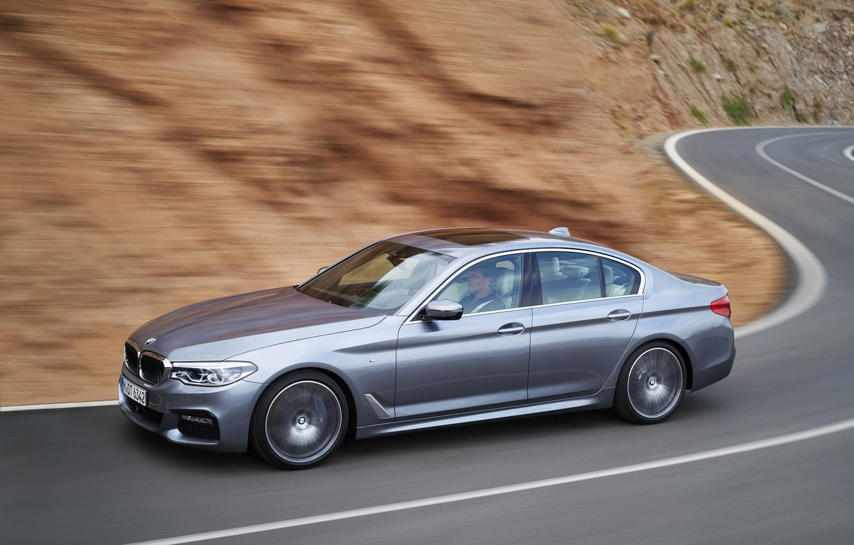 Photo wallpaper road, grey, movement, speed, turn, BMW, sedan, 540i, 5, M Sport, four-door, 2017, 5-series, G30