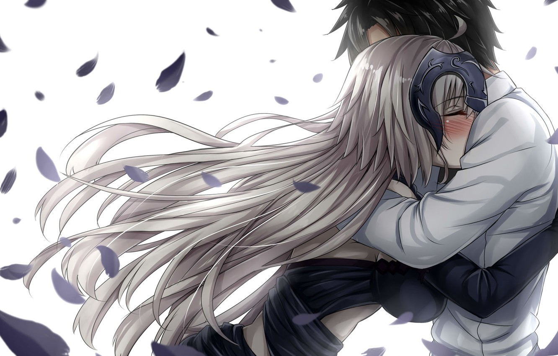 Photo wallpaper romance, anime, art, two, hugs, fate grand order