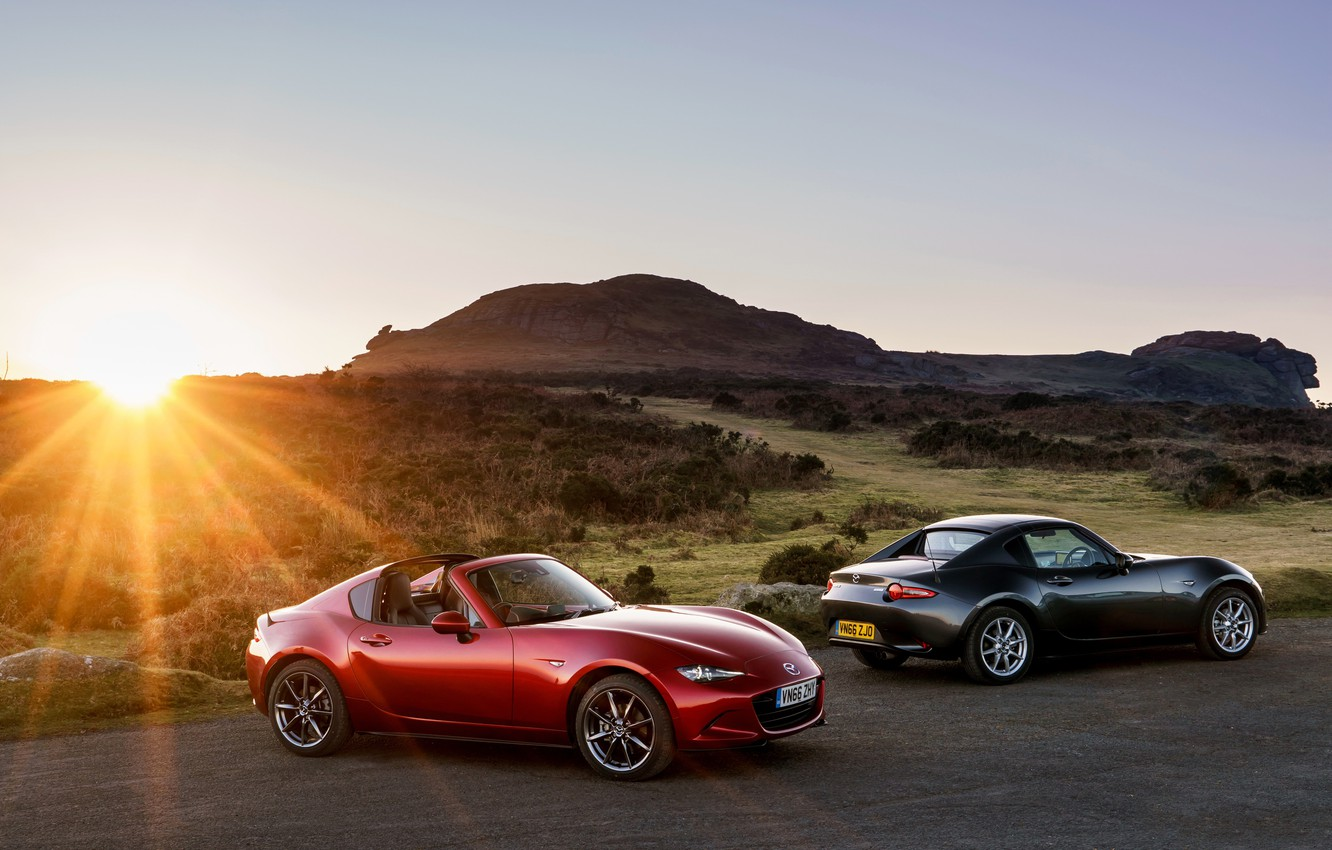 Photo wallpaper rays, sunset, mountains, two, Mazda, convertible, car, Mazda, MX-5
