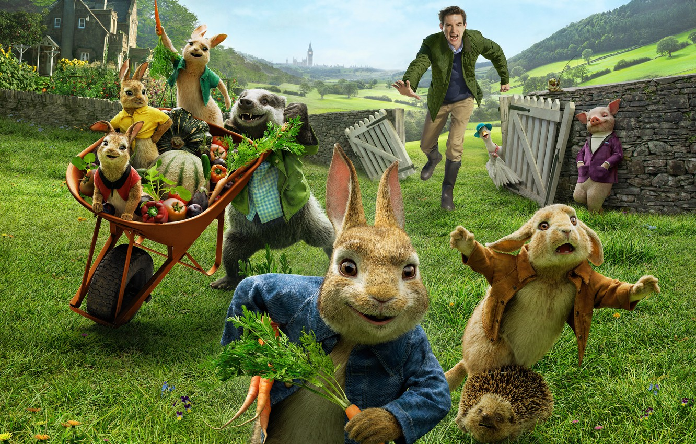 Photo wallpaper cartoon, rabbits, pig, guy, Peter Rabbit, Peter Rabbit