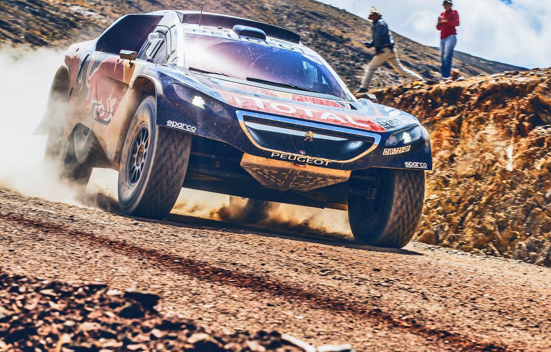 Photo wallpaper Sand, 2008, Sport, Speed, People, Race, Peugeot, Lights, Red Bull, Rally, Dakar, Dakar, Rally, The …