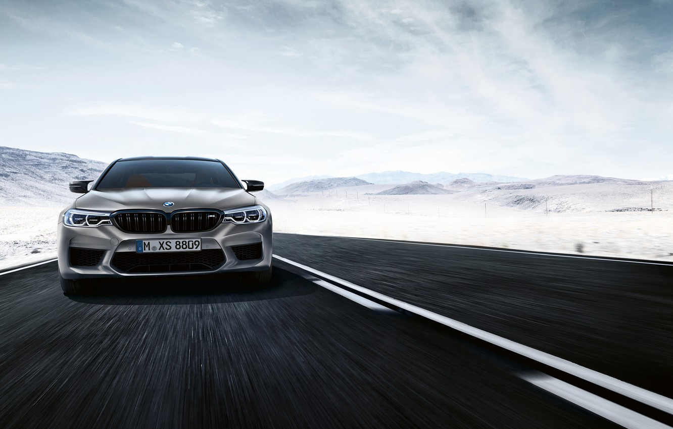Photo wallpaper sedan, front view, 2018, BMW M5, Competition